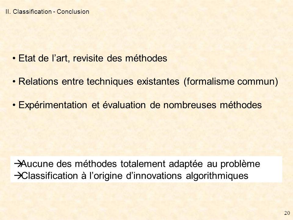 19 II. Classification - Récapitulatif Avantages Hypothèse sous-jacente (présence dune période fondamentale) Problème danisochronie Conservation de la