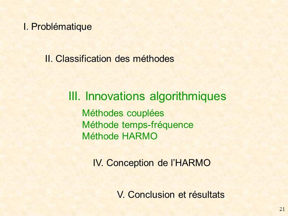 20 II. Classification - Conclusion Etat de lart, revisite des méthodes Relations entre techniques existantes (formalisme commun) Expérimentation et év