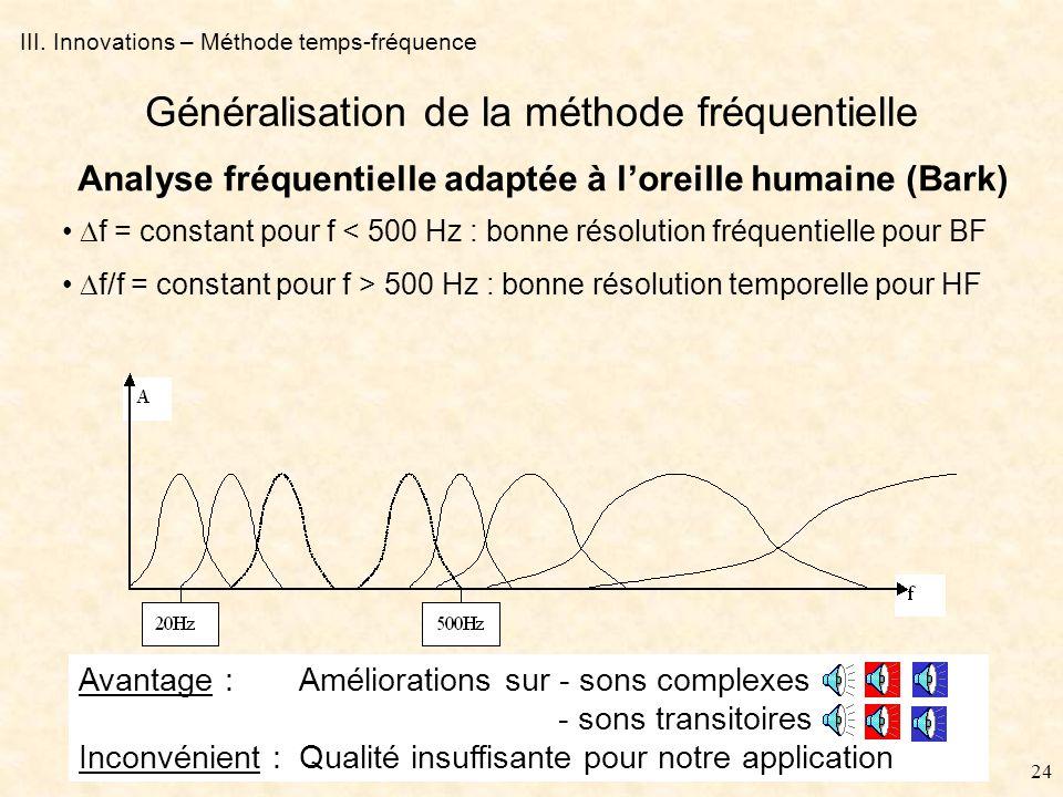 23 III. Innovations – Méthodes couplées B - Décomposition hybride Dilatation par méthode temporelle Dilatation par méthode fréquentielle Décomposition