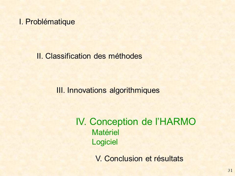 30 III. Innovations - Conclusion Méthode HARMO Meilleur compromis, satisfaisant les contraintes de qualité sonore temps-réel multicanal économiques Al