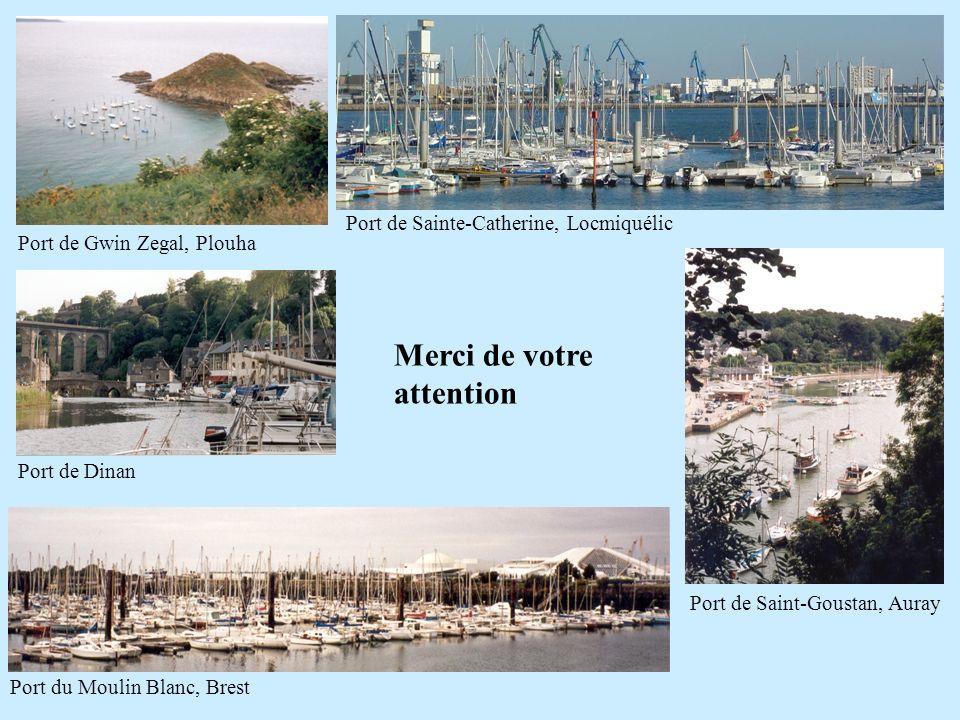 Port de Gwin Zegal, Plouha Port de Saint-Goustan, Auray Port de Sainte-Catherine, Locmiquélic Port de Dinan Port du Moulin Blanc, Brest Merci de votre