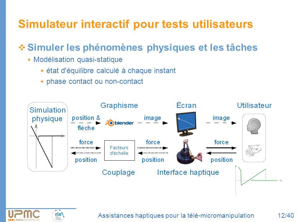 Assistances haptiques pour la télé-micromanipulation Simuler les phénomènes physiques et les tâches Modélisation quasi-statique état d'équilibre calcu