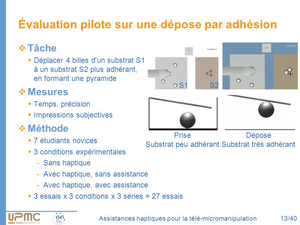 Assistances haptiques pour la télé-micromanipulation Évaluation pilote sur une dépose par adhésion Tâche Déplacer 4 billes d'un substrat S1 à un subst