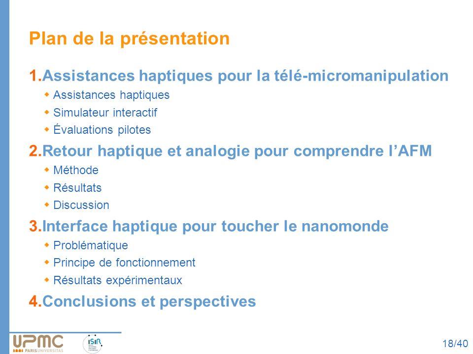 Plan de la présentation 1.Assistances haptiques pour la télé-micromanipulation Assistances haptiques Simulateur interactif Évaluations pilotes 2.Retou
