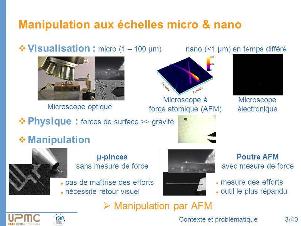 Contexte et problématique Manipulation aux échelles micro & nano Visualisation : micro (1 – 100 µm)nano (<1 µm) en temps différé Physique : forces de