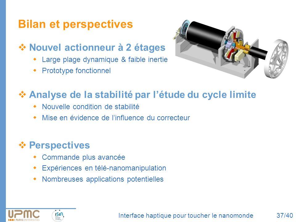 Interface haptique pour toucher le nanomonde Bilan et perspectives Nouvel actionneur à 2 étages Large plage dynamique & faible inertie Prototype fonct