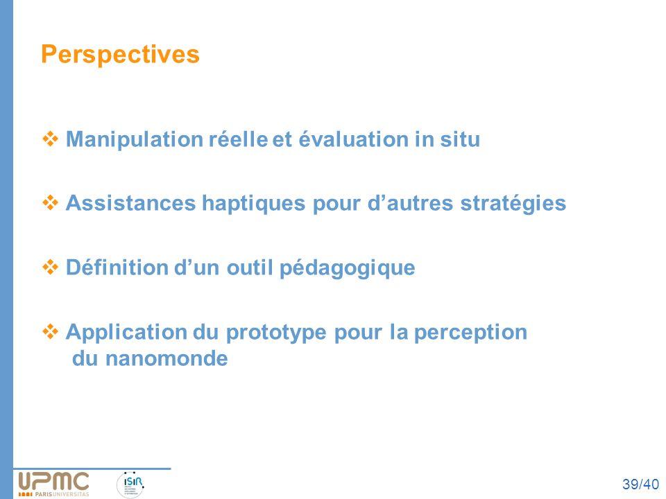Perspectives Manipulation réelle et évaluation in situ Assistances haptiques pour dautres stratégies Définition dun outil pédagogique Application du p