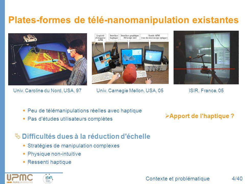 Contexte et problématique Plates-formes de télé-nanomanipulation existantes Peu de télémanipulations réelles avec haptique Pas d'études utilisateurs c