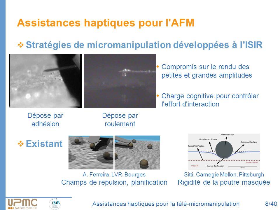 Assistances haptiques pour la télé-micromanipulation Assistances haptiques pour l'AFM Stratégies de micromanipulation développées à l'ISIR Compromis s