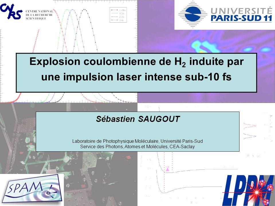 Grille de résolution numérique Calcul sur grilles en z 1, z 2 et R « zone H 2 » « zone H 2 + » « zone H + + H + » Ionisation double séquentielle Ionisation double directe 50 ua -50 ua Limite en R => limite en durée dimpulsion : 10 fs Limite en z => limite en éclairement : 5.10 15 W.cm -2 dt = 1 as dR = 0,02 ua dz = 0,4 ua