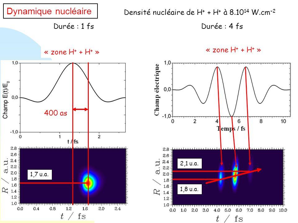 Densité nucléaire de H + + H + à 8.10 14 W.cm -2 Dynamique nucléaire Durée : 1 fsDurée : 4 fs « zone H + + H + » 400 as 1,7 u.a. 1,8 u.a. 2,1 u.a.