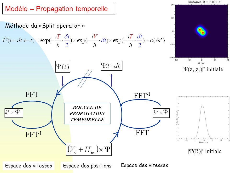 Méthode du «Split operator » Modèle – Propagation temporelle BOUCLE DE PROPAGATION TEMPORELLE FFT FFT -1 FFT Espace des vitesses Espace des positions