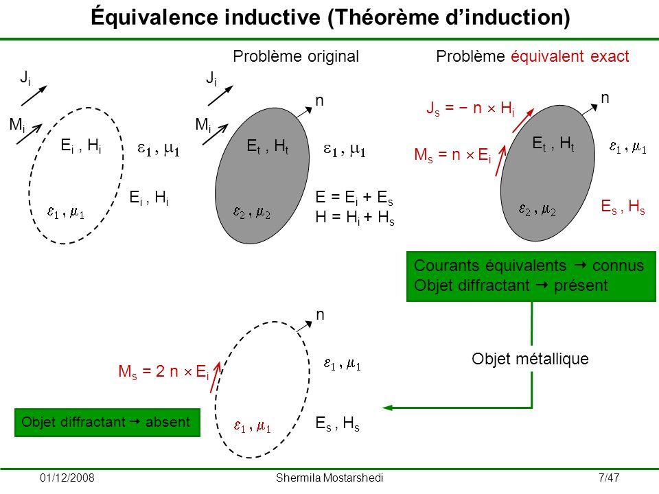 01/12/2008Shermila Mostarshedi8/47 Équivalence physique JiJi MiMi n E t, H t E = E i + E s H = H i + H s Problème original J s = n H M s = n E n E i, H i E s, H s Problème équivalent exact en réflexion JiJi MiMi E i, H i Courants équivalents inconnus Objet diffractant absent Objet métallique J s = 2 n H i n E s, H s Problème équivalent approché en réflexion Courant équivalent connu