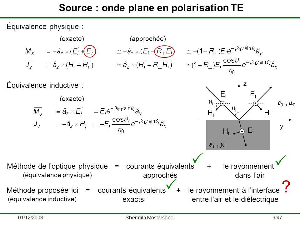 01/12/2008Shermila Mostarshedi30/47 Validation du modèle – Milieu composé de surface finie Double vitrage intégré dans un mur E H 4 mm 8 mm 16 mm 0,5 m 2 m 1 m Onde plane en polarisation TE f = 900 MHz θ i = 0°, θ r = [0°, 90°] ε r-verre = 5,5 ε req = 17 + j18,39 ε r-béton = 6 j4,8 Fonctions de Green CST Leffet de bord est secondaire en raison de la présence du béton.