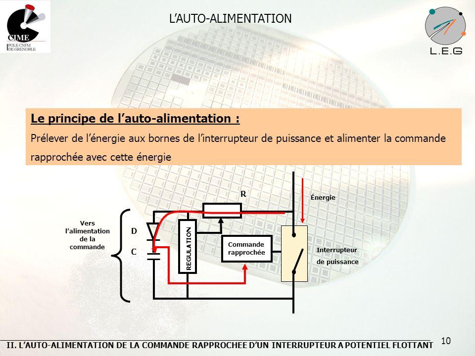 10 LAUTO-ALIMENTATION Le principe de lauto-alimentation : Prélever de lénergie aux bornes de linterrupteur de puissance et alimenter la commande rappr