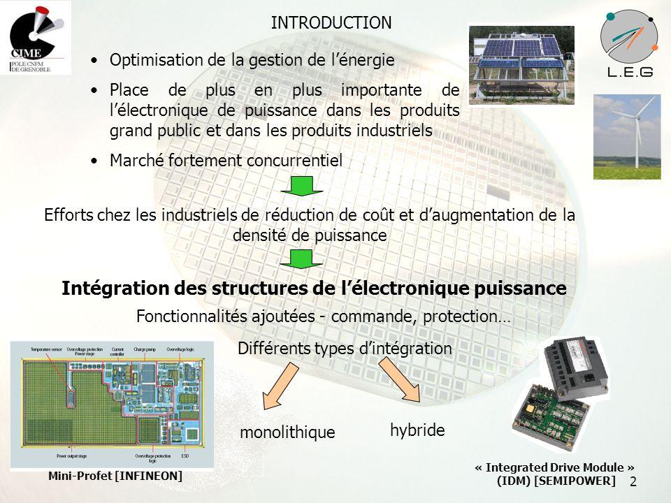2 INTRODUCTION Optimisation de la gestion de lénergie Place de plus en plus importante de lélectronique de puissance dans les produits grand public et