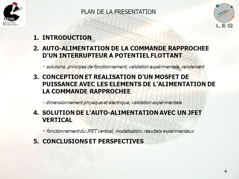5 PLAN DE LA PRESENTATION 1.INTRODUCTION 2.AUTO-ALIMENTATION DE LA COMMANDE RAPPROCHEE DUN INTERRUPTEUR A POTENTIEL FLOTTANT - solutions, principes de fonctionnement, validation expérimentale, rendement 3.CONCEPTION ET REALISATION DUN MOSFET DE PUISSANCE AVEC LES ELEMENTS DE LALIMENTATION DE LA COMMANDE RAPPROCHEE - dimensionnement physique et électrique, validation expérimentale 4.SOLUTION DE LAUTO-ALIMENTATION AVEC UN JFET VERTICAL - fonctionnement du JFET vertical, modélisation, résultats expérimentaux 5.