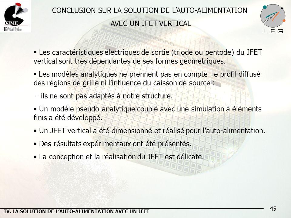 45 CONCLUSION SUR LA SOLUTION DE LAUTO-ALIMENTATION AVEC UN JFET VERTICAL Les caractéristiques électriques de sortie (triode ou pentode) du JFET verti