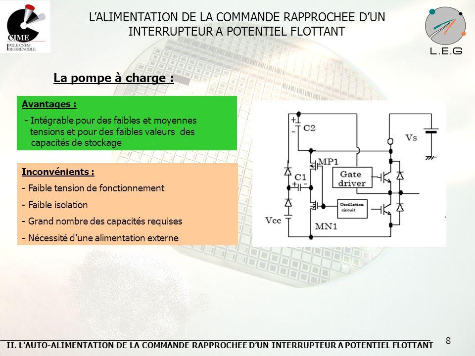 8 La pompe à charge : Inconvénients : - Faible tension de fonctionnement - Faible isolation - Grand nombre des capacités requises - Nécessité dune ali