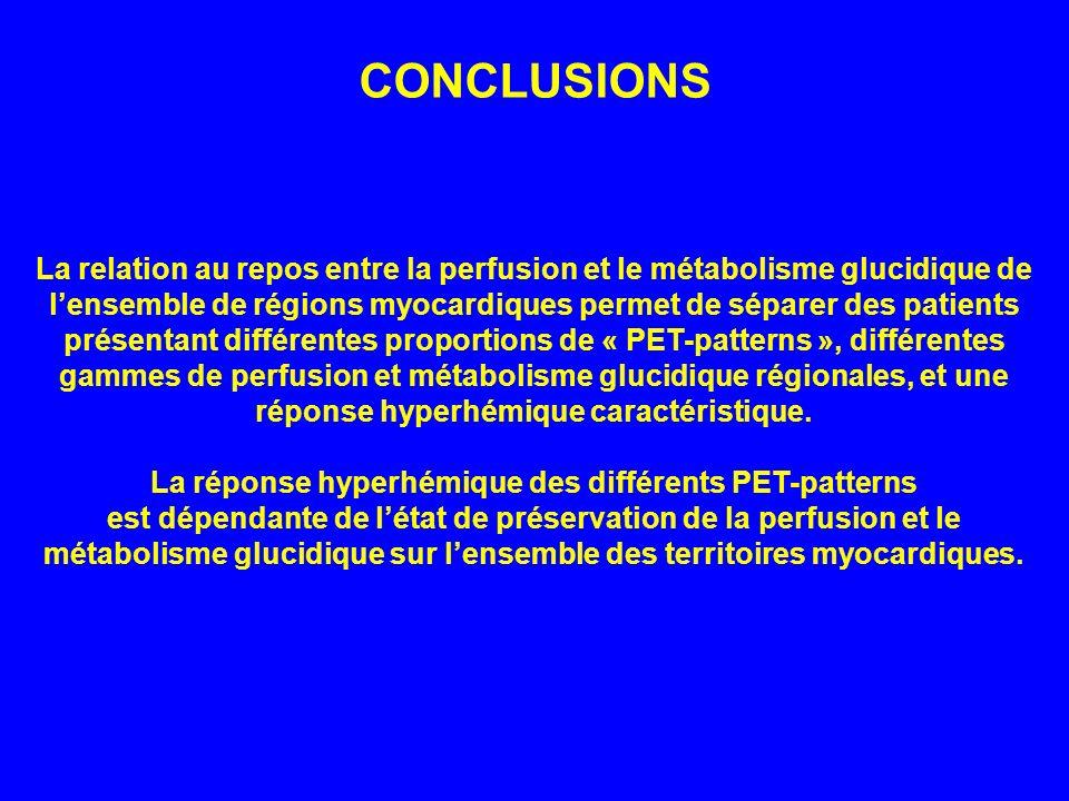 La relation au repos entre la perfusion et le métabolisme glucidique de lensemble de régions myocardiques permet de séparer des patients présentant di