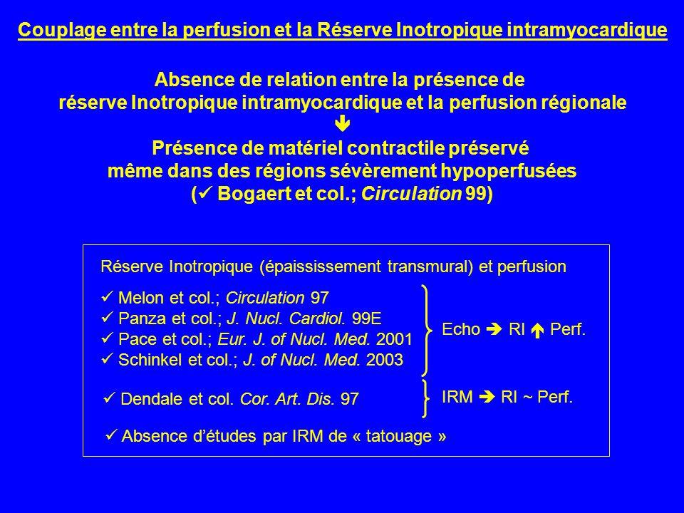 Couplage entre la perfusion et la Réserve Inotropique intramyocardique Melon et col.; Circulation 97 Panza et col.; J. Nucl. Cardiol. 99E Pace et col.