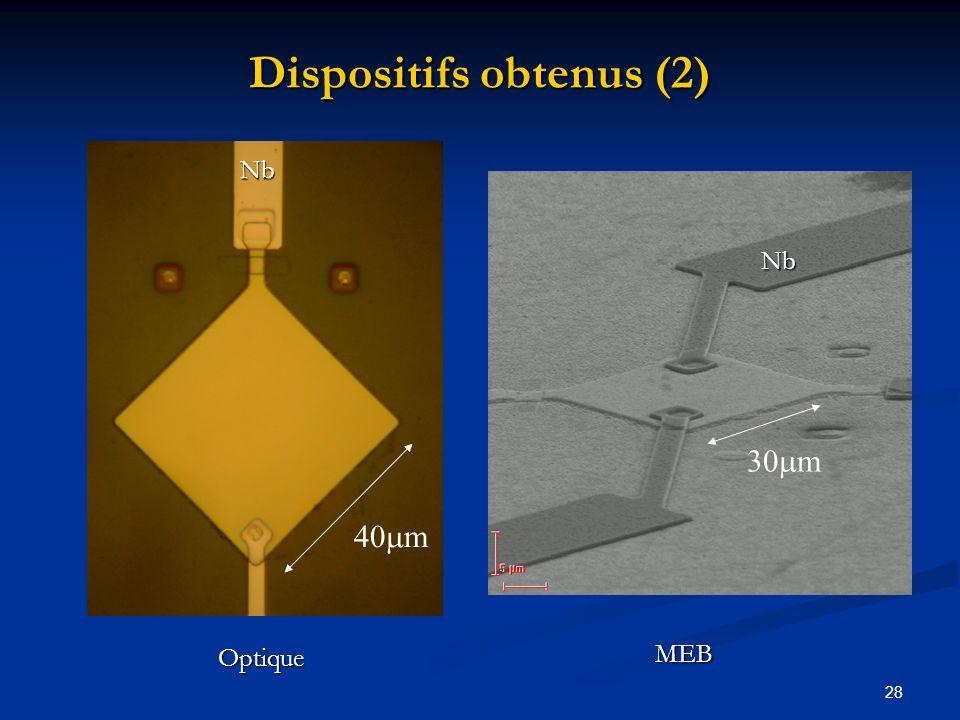 28 Dispositifs obtenus (2) 40 m 200 m 30 m Nb Nb Optique MEB