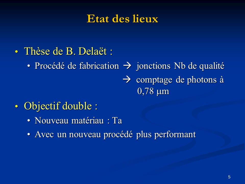 5 Etat des lieux Thèse de B. Delaët : Thèse de B. Delaët : Procédé de fabrication jonctions Nb de qualitéProcédé de fabrication jonctions Nb de qualit