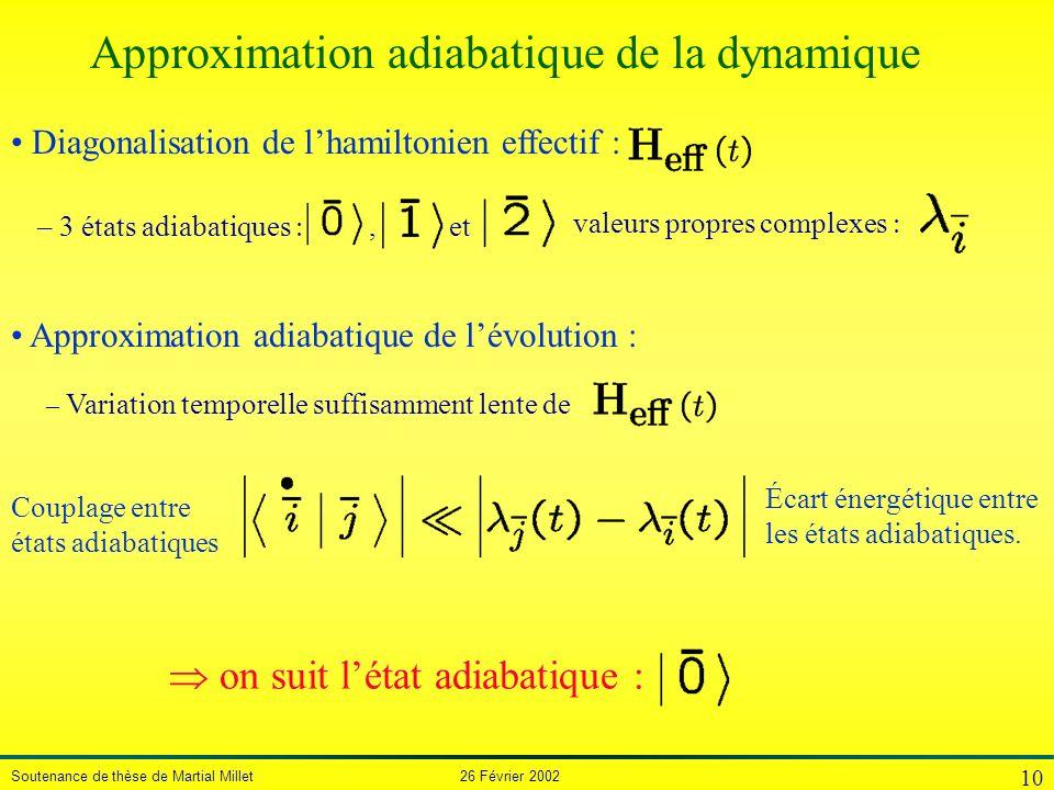 Soutenance de thèse de Martial Millet 26 Février 2002 10 – 3 états adiabatiques, et Diagonalisation de lhamiltonien effectif : valeurs propres complex