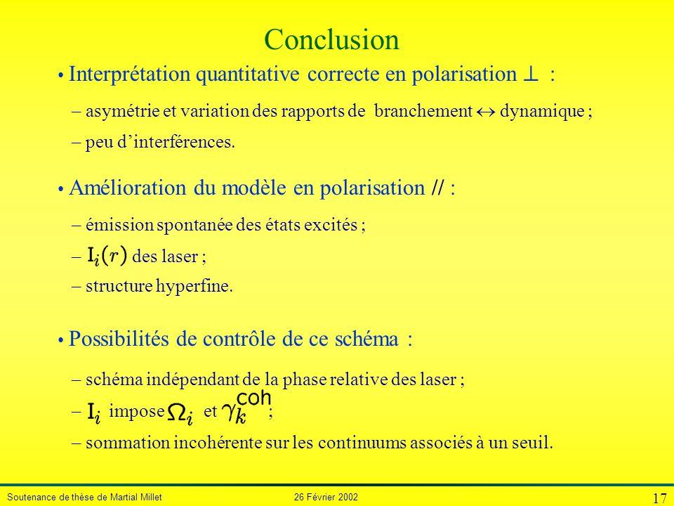 Soutenance de thèse de Martial Millet 26 Février 2002 17 Interprétation quantitative correcte en polarisation – asymétrie et variation des rapports de