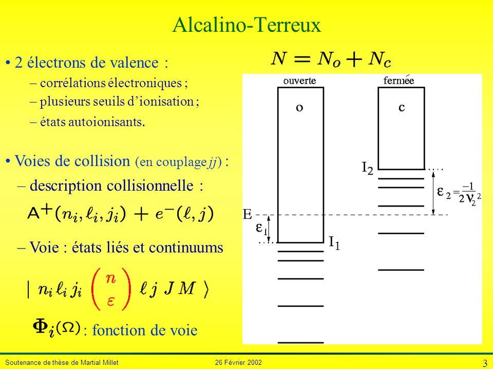 Soutenance de thèse de Martial Millet 26 Février 2002 3 2 électrons de valence – corrélations électroniques – plusieurs seuils dionisation – états aut