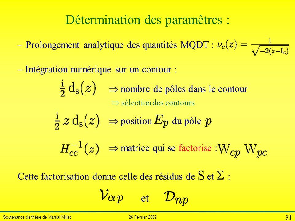 Soutenance de thèse de Martial Millet 26 Février 2002 31 Détermination des paramètres : matrice qui se factorise : position du pôle sélection des cont