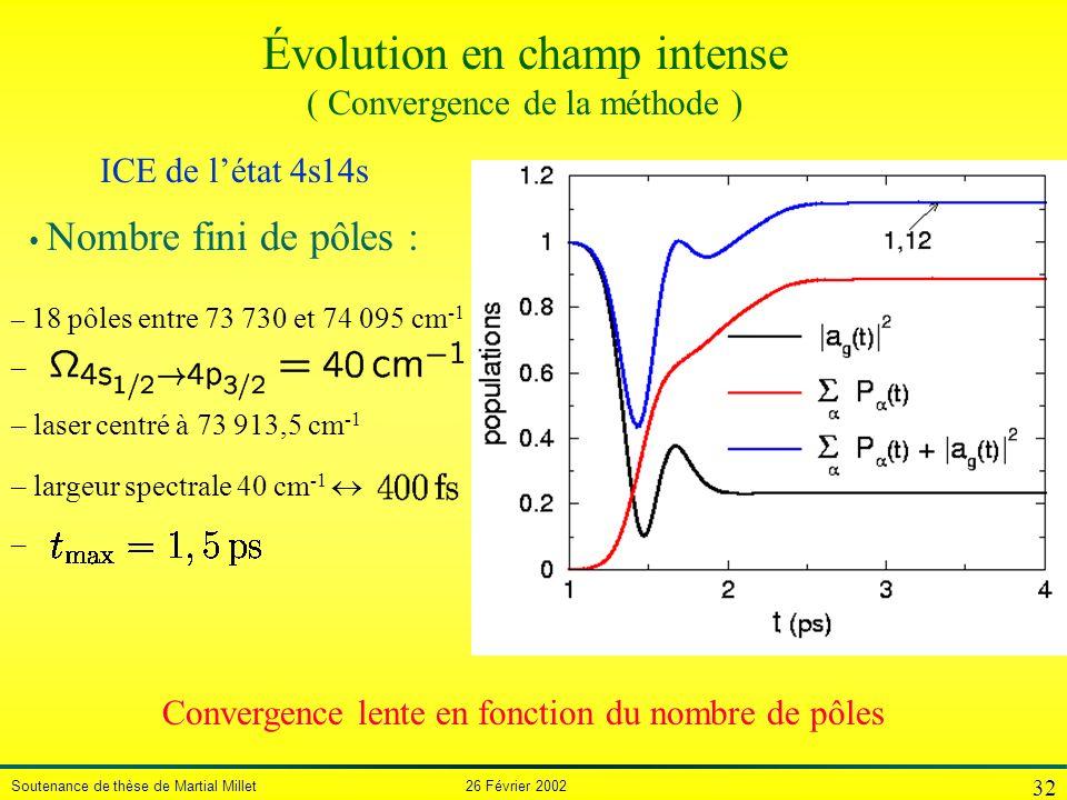 Soutenance de thèse de Martial Millet 26 Février 2002 32 Évolution en champ intense ( Convergence de la méthode ) – 18 pôles entre 73 730 et 74 095 cm
