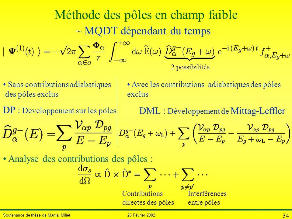 Soutenance de thèse de Martial Millet 26 Février 2002 34 2 possibilités ~ MQDT dépendant du temps Avec les contributions adiabatiques des pôles exclus
