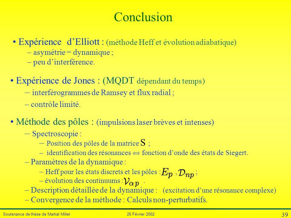 Soutenance de thèse de Martial Millet 26 Février 2002 39 Méthode des pôles : (impulsions laser brèves et intenses) – Spectroscopie : – Position des pô