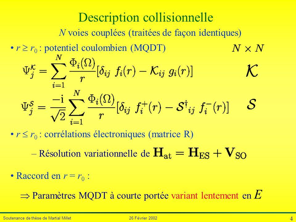 Soutenance de thèse de Martial Millet 26 Février 2002 4 Description collisionnelle r r 0 : potentiel coulombien (MQDT) N voies couplées (traitées de f