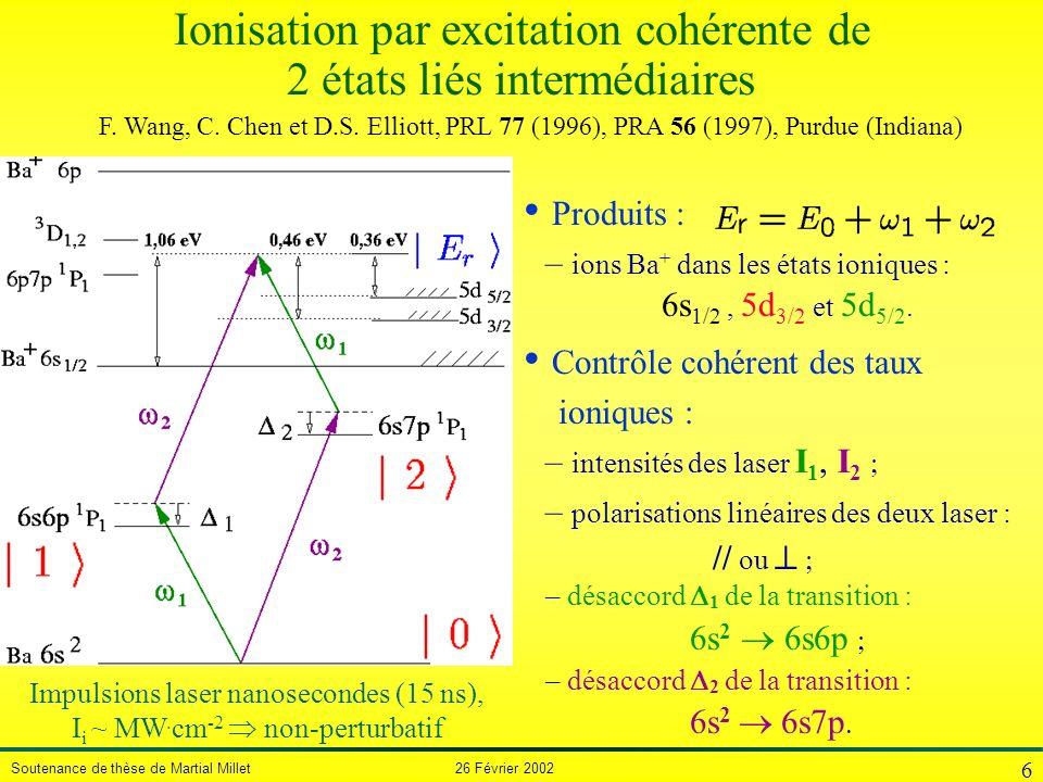 Soutenance de thèse de Martial Millet 26 Février 2002 6 Ionisation par excitation cohérente de 2 états liés intermédiaires Produits : – ions Ba + dans