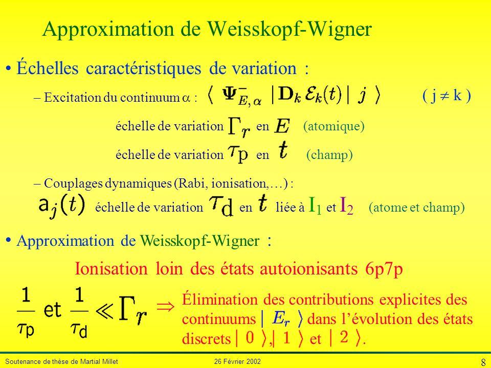 Soutenance de thèse de Martial Millet 26 Février 2002 8 – Couplages dynamiques (Rabi, ionisation,…) : – Excitation du continuum : échelle de variation