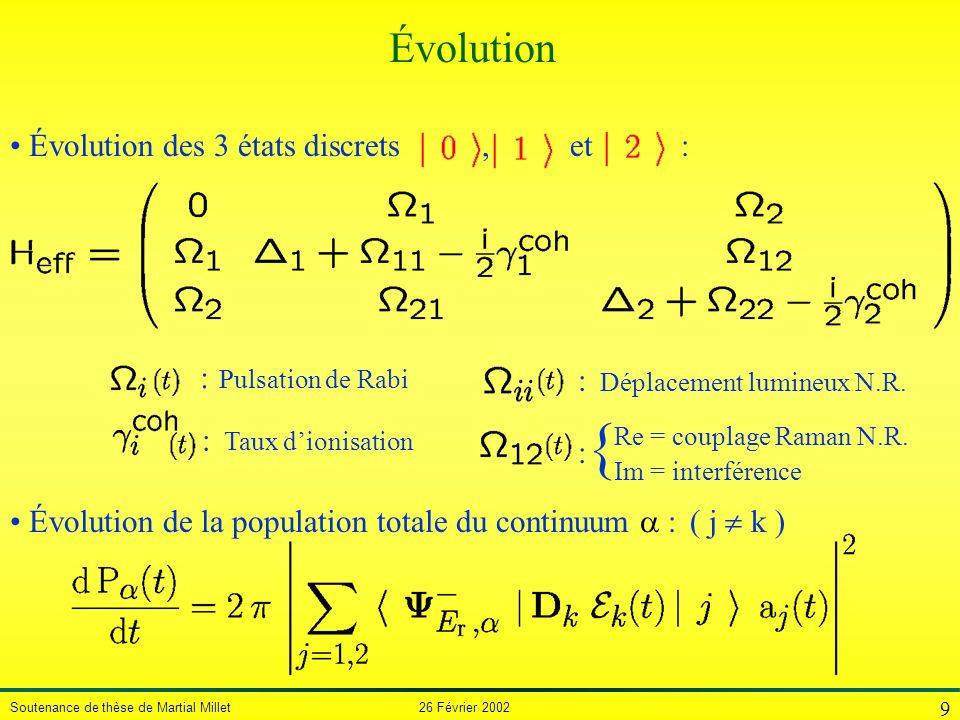 Soutenance de thèse de Martial Millet 26 Février 2002 9 Évolution : Déplacement lumineux N.R. : Pulsation de Rabi : Taux dionisation { Re = couplage R