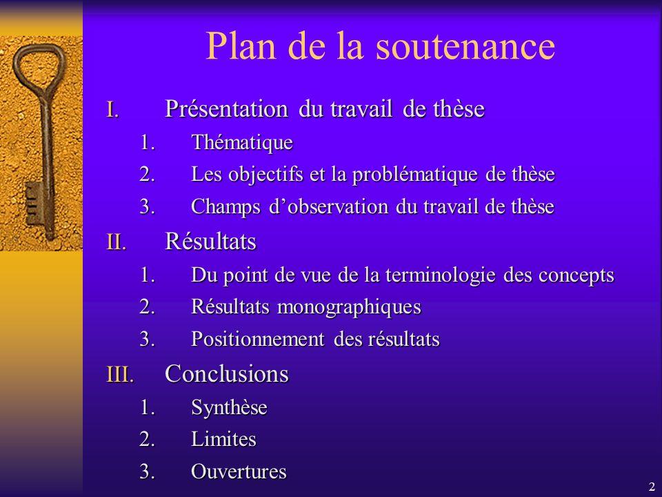 2 Plan de la soutenance I.