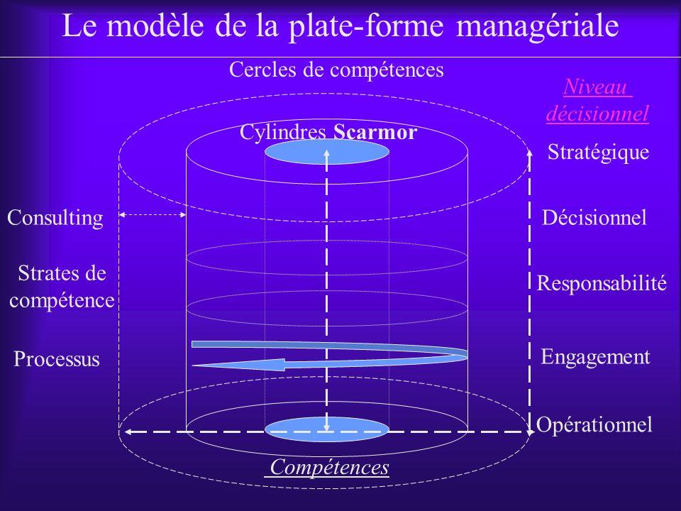 Opérationnel Stratégique Décisionnel Responsabilité Engagement Consulting Cylindres Scarmor Cercles de compétences Compétences Strates de compétence Processus Le modèle de la plate-forme managériale Niveau décisionnel