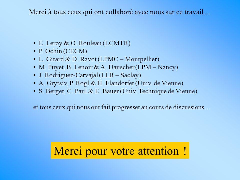 Merci pour votre attention ! Merci à tous ceux qui ont collaboré avec nous sur ce travail… E. Leroy & O. Rouleau (LCMTR) P. Ochin (CECM) L. Girard & D