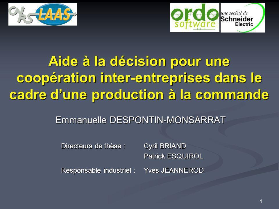 1 Aide à la décision pour une coopération inter-entreprises dans le cadre dune production à la commande Emmanuelle DESPONTIN-MONSARRAT Directeurs de t