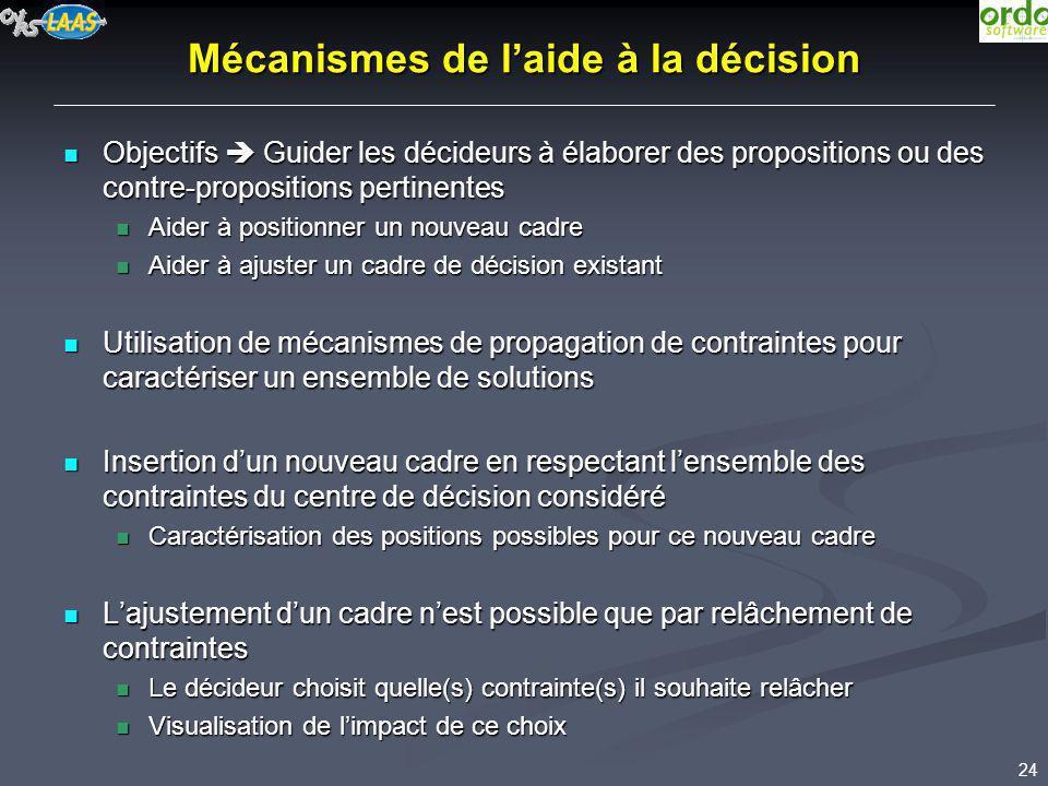 24 Mécanismes de laide à la décision Objectifs Guider les décideurs à élaborer des propositions ou des contre-propositions pertinentes Objectifs Guide