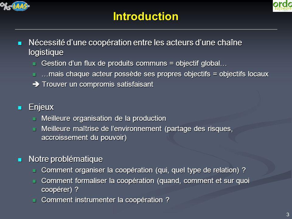 3 Introduction Nécessité dune coopération entre les acteurs dune chaîne logistique Nécessité dune coopération entre les acteurs dune chaîne logistique