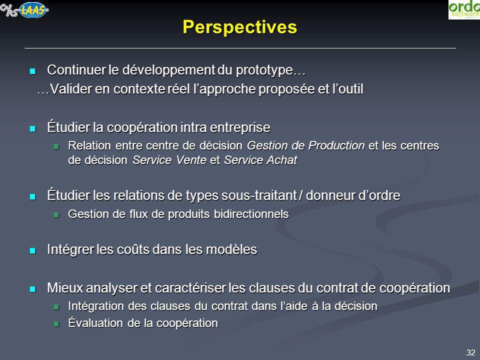 32 Perspectives Continuer le développement du prototype… Continuer le développement du prototype… …Valider en contexte réel lapproche proposée et lout
