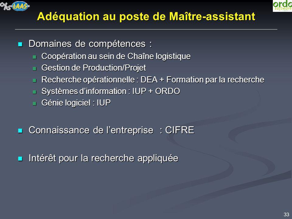 33 Adéquation au poste de Maître-assistant Domaines de compétences : Domaines de compétences : Coopération au sein de Chaîne logistique Coopération au