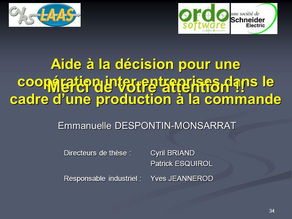 34 Aide à la décision pour une coopération inter-entreprises dans le cadre dune production à la commande Emmanuelle DESPONTIN-MONSARRAT Directeurs de