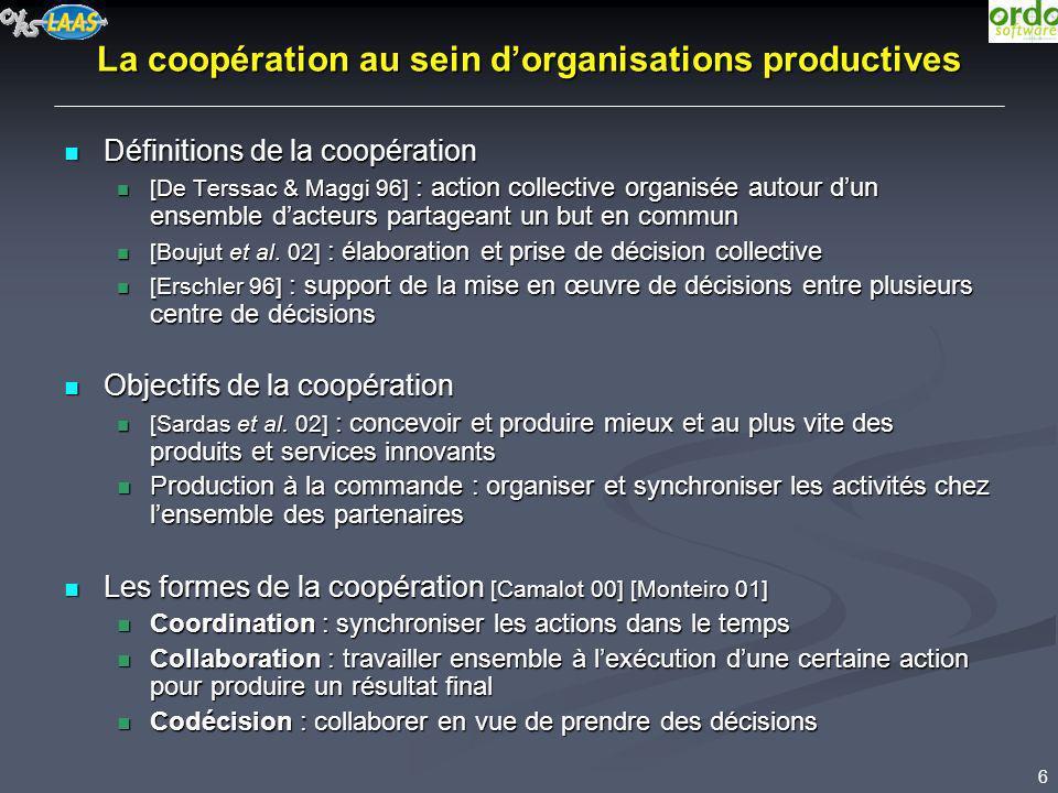6 La coopération au sein dorganisations productives Définitions de la coopération Définitions de la coopération [De Terssac & Maggi 96] : action colle