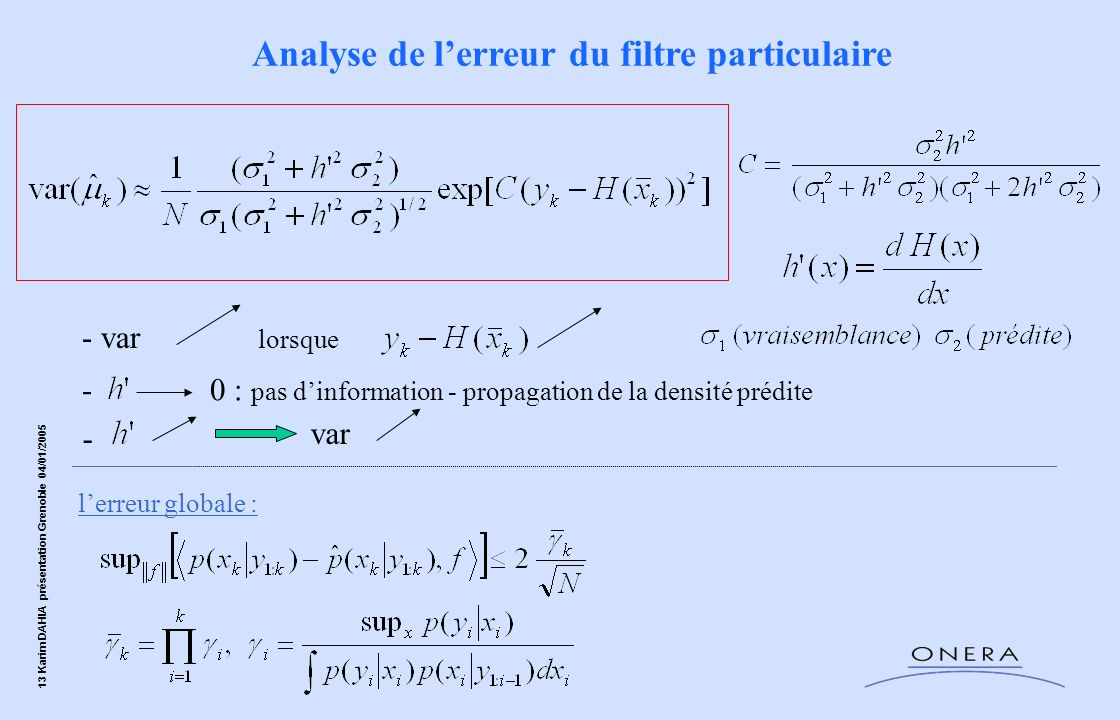 13 Karim DAHIA présentation Grenoble 04/01/2005 - var -0 : pas dinformation - propagation de la densité prédite lerreur globale : Analyse de lerreur d