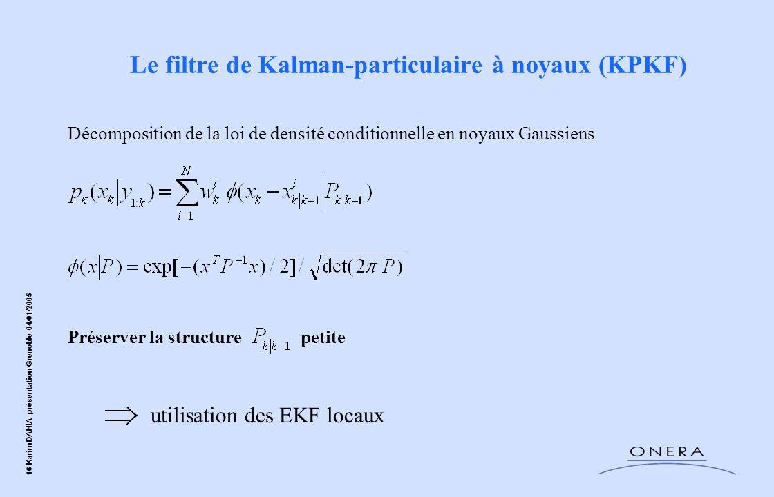 16 Karim DAHIA présentation Grenoble 04/01/2005 Décomposition de la loi de densité conditionnelle en noyaux Gaussiens Préserver la structure petite Le